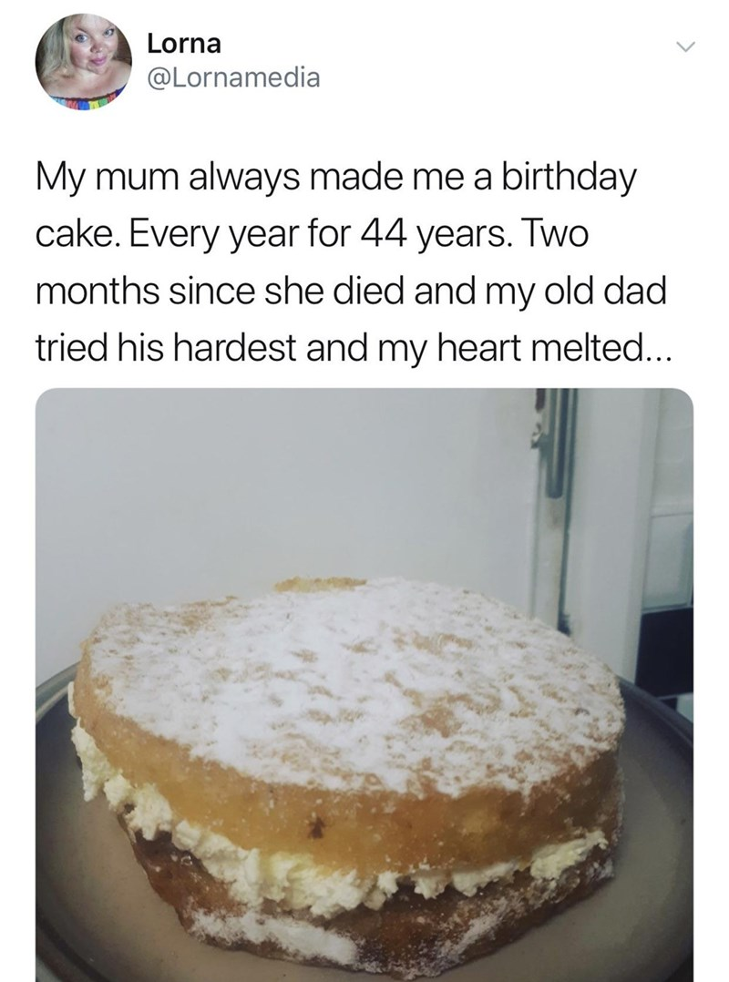 wholesome meme of a father that baked a cake for his daughters birthday