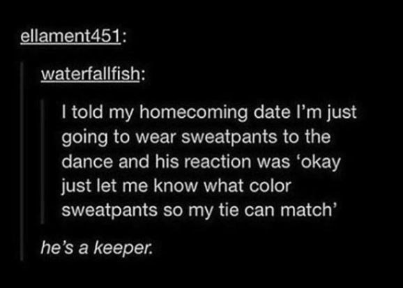 wholesome meme of a couple that were sweatpants to a homecoming