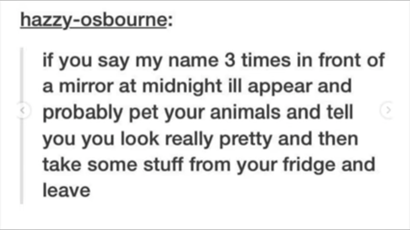 wholesome meme about saying a persons name 3 time in front of a mirror