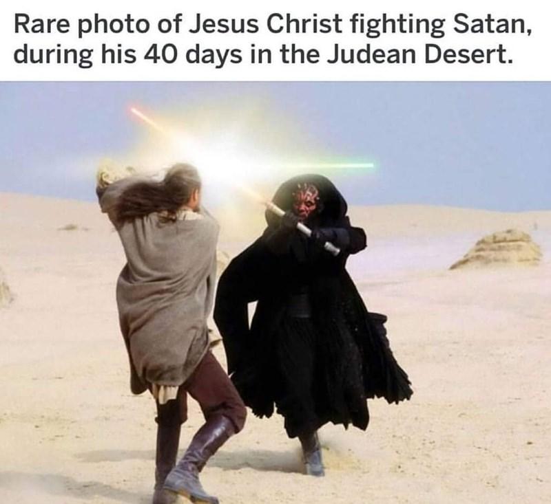 Friendship - Rare photo of Jesus Christ fighting Satan, during his 40 days in the Judean Desert.