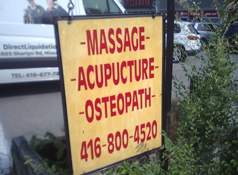 Text - MASSAGE -ACUPUCTURE OSTEOPATH DirectLiquidatic 885 Sharlyn &d, Miss TEL: 416-677-74 416-800-4520