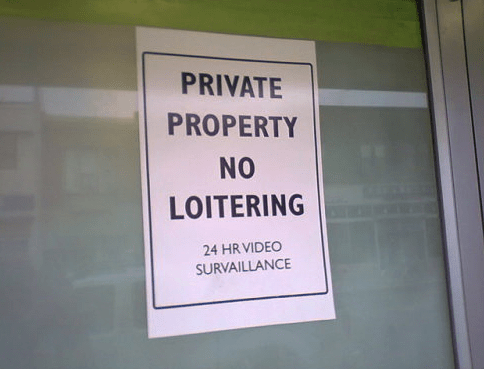 Text - PRIVATE PROPERTY NO LOITERING 24 HR VIDEO SURVAILLANCE