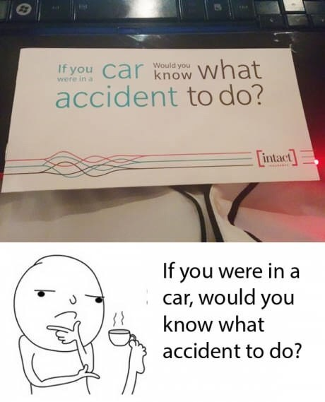 Cartoon - If you Car know What accident to do? Would you were in a intact mestes If you were in a car, would you know what accident to do?