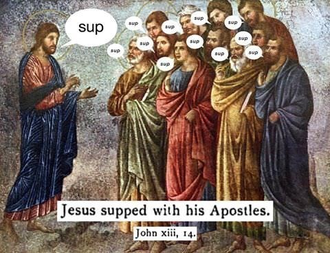 """Painting of Jesus and his disciples with caption that reads, """"Jesus supped with his Apostles"""""""