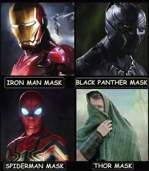 Superhero - BLACK PANTHER MASK IRON MAN MASK SPIDERMAN MASK THOR MASK