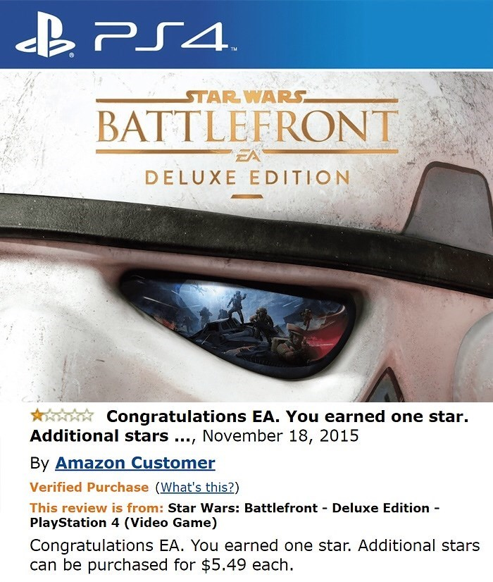 Font - & PS4 STAR WARS BATTLEFRONT EA DELUXE EDITION Congratulations EA. You earned one star. Additional stars ..., November 18, 2015 By Amazon Customer Verified Purchase (What's this?) This review is from: Star Wars: Battlefront Deluxe Edition PlayStation 4 (Video Game) - Congratulations EA. You earned one star. Additional stars can be purchased for $5.49 each.