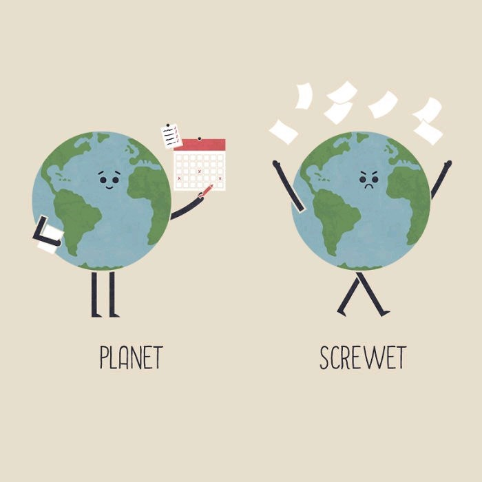 Drawing of plan-et earth next to screw-et earth throwing a bunch of papers into the air