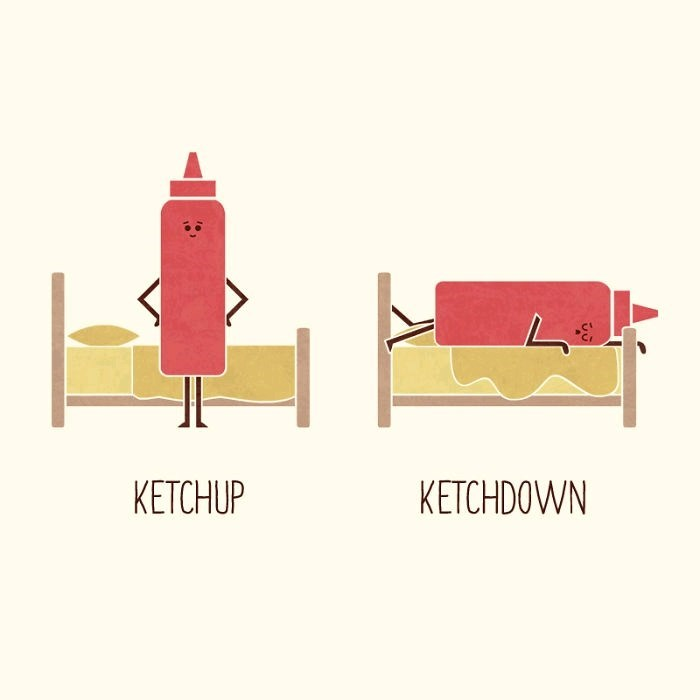 Drawing of a bottle of ketchup standing up next to a bottle of 'ketchdown' lying on a bed