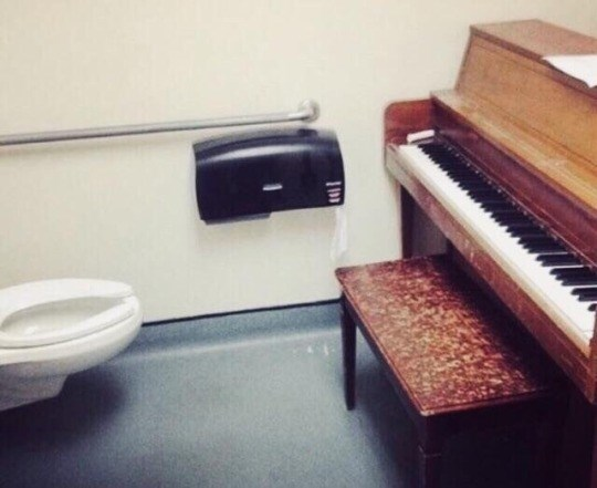 cursed_image - Piano in a bathroom