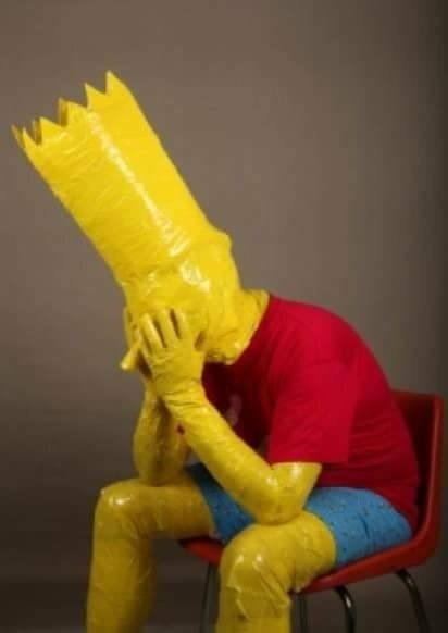 cursed_image - Simpsons character made out of duct tape