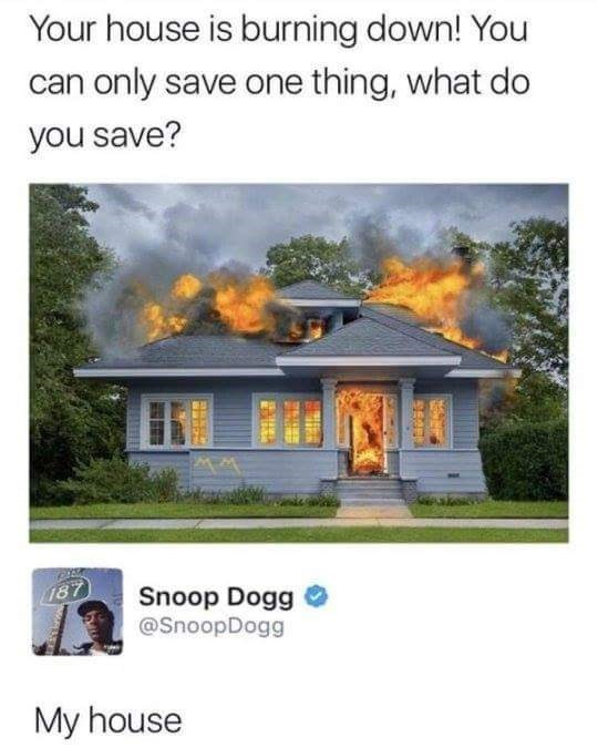 "Tweet that reads, ""Your house is burning down! You can only save one thing, what do you save?"" Snoop Dogg replies, ""My house"""
