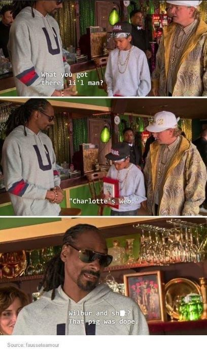 "snoop dogg meme - Collage - AB What you got there li'l man? AR ""Charlotte s Web."" Wilbur and sh That pig was dope. Source, fausseteamour"