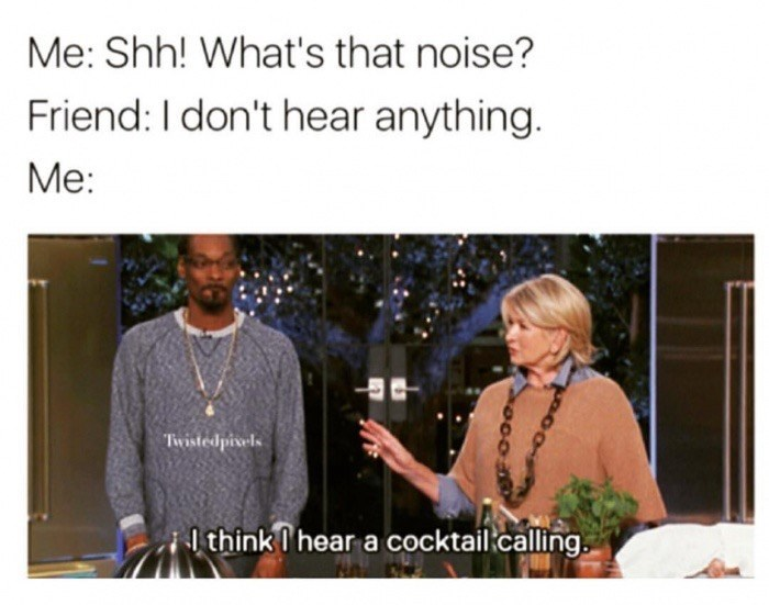 snoop dogg meme - Text - Me: Shh! What's that noise? Friend: I don't hear anything. Me: Twistedpivels ilthink I hear a cocktail.calling