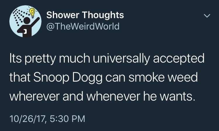 snoop dogg meme - Text - Shower Thoughts @TheWeirdWorld Its pretty much universally accepted that Snoop Dogg can smoke weed wherever and whenever he wants. 10/26/17, 5:30 PM