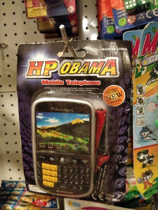 Toy - WARNING Tris to Use w super ACE MADEN CHINA HPOBAMA Mobile Telepfhone SPECIFICATIONSCOLOURS AND CONTENTS MAY VARY ROM ILLUSTRATIONS BATTERIES NCLUDED NEW FE BackBerry MODEL edge Yatt PNCNS AWAR space O voDAPHONe CE TEM NO.900 MDE IN CH BLACK ORSE