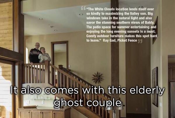 Photoshop fail of a home but the elderly couple are missing half their bodies