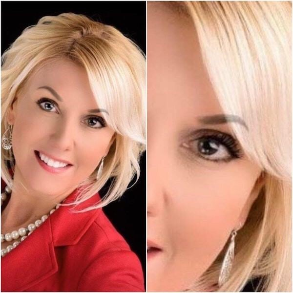 Professional headshot of a woman with her eyebrow accidentally photoshopped over her bangs