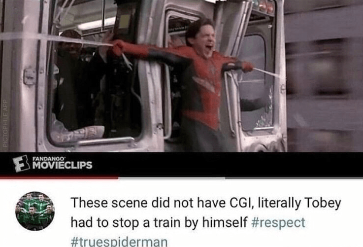 Transport - FANDANGO MOVIECLIPS These scene did not have CGI, literally Tobey had to stop a train by himself #respect #truespiderman PICTOPHILE APP
