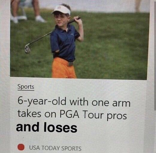 Golfer - Sports 6-year-old with one arm takes on PGA Tour pros and loses USA TODAY SPORTS