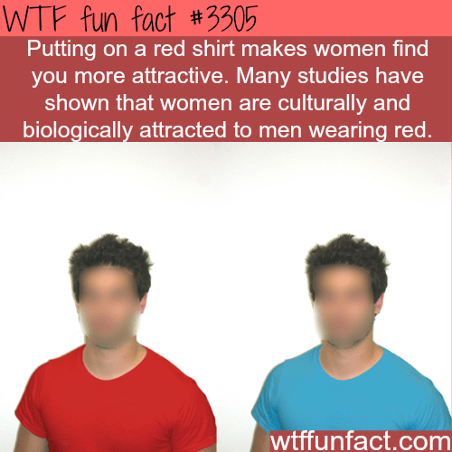"Text reads, ""Putting on a red shirt makes women find you more attractive. Many studies have shown that women are culturally and biologically attracted to men wearing red"""