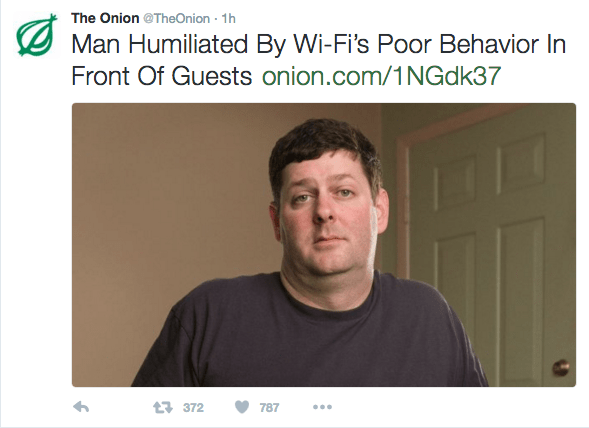 """Headline that reads, """"Man humiliated by Wi-fi's poor behavior in front of guests"""""""