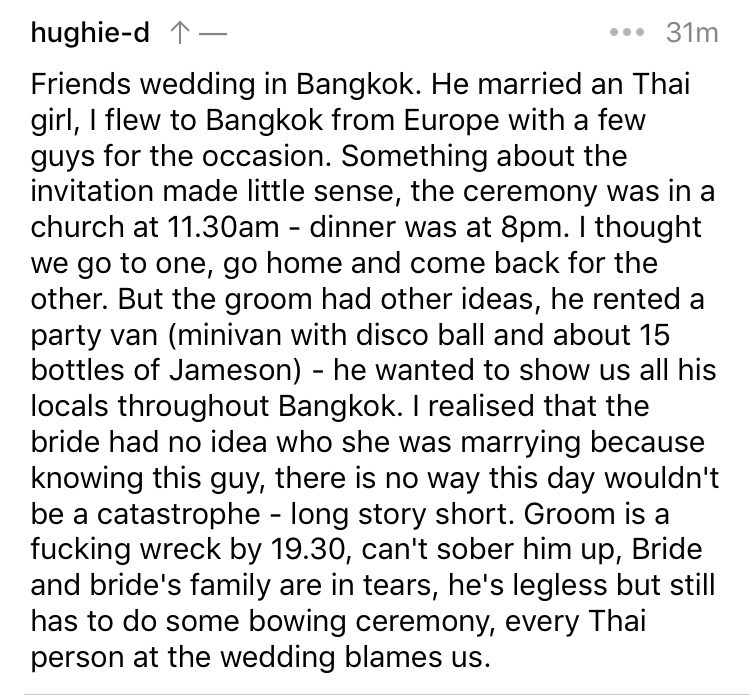 askreddit - Text - hughie-d 31m Friends wedding in Bangkok. He married an Thai girl