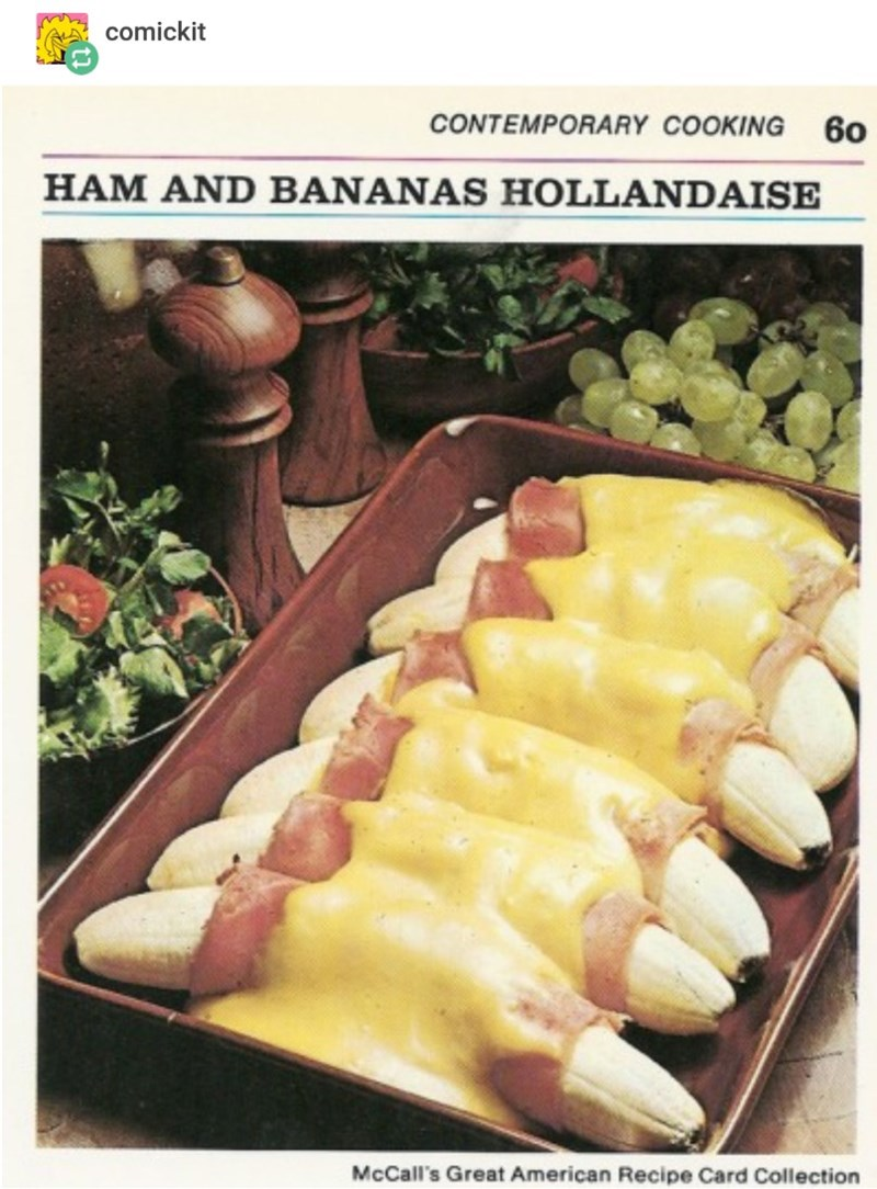 Food - comickit CONTEMPORARY COOKING 60 HAM AND BANANAS HOLLANDAISE McCall's Great American Recipe Card Collection