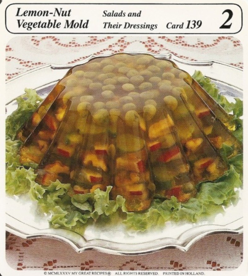 Dish - Lemon-Nut 2 Salads and Vegetable Mold Card 139 Their Dressings OMCMLXXXV MY GREAT RECIPES ALL RIGHTS RESERVED PRINTED IN HOLLAND.