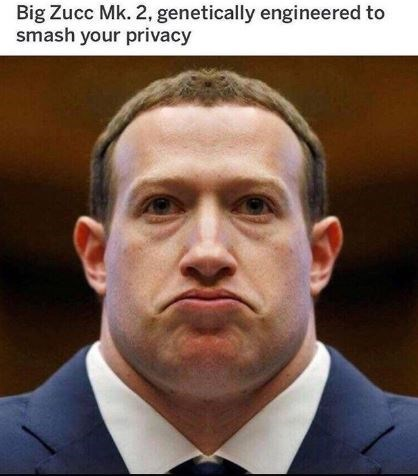 "Caption that reads, ""Big Zucc Mk. 2, genetically engineered to smash your privacy"" above a pic of Mark Zuckerberg with a giant neck"