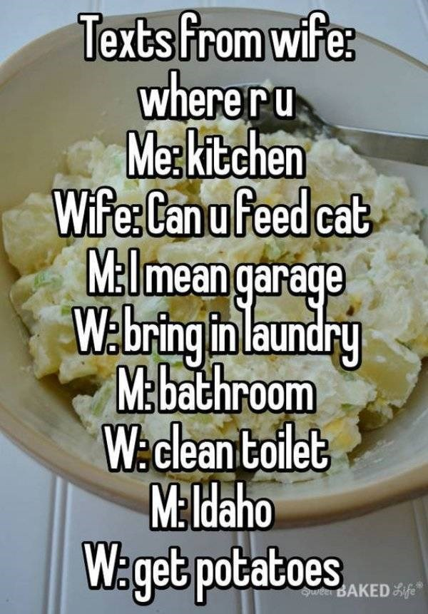 Dish - Texts from wifer where ru Merkitchen Wife: Canu feed cat Mmean garage W.bring in laundry Mbathroom WAclean toilet M Haho W: get potatoes Sweel BAKEDife