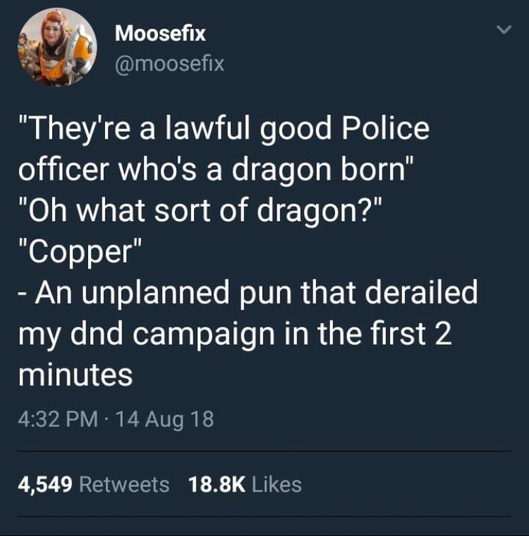 dungeons and dragons meme about making accidental puns while playing