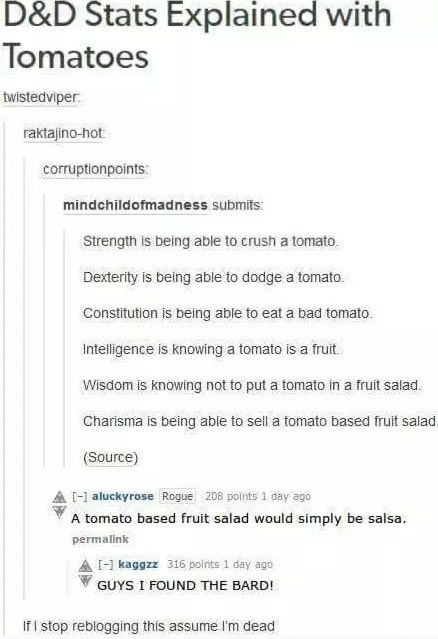 dungeons and dragons meme explaining stats with tomatoes