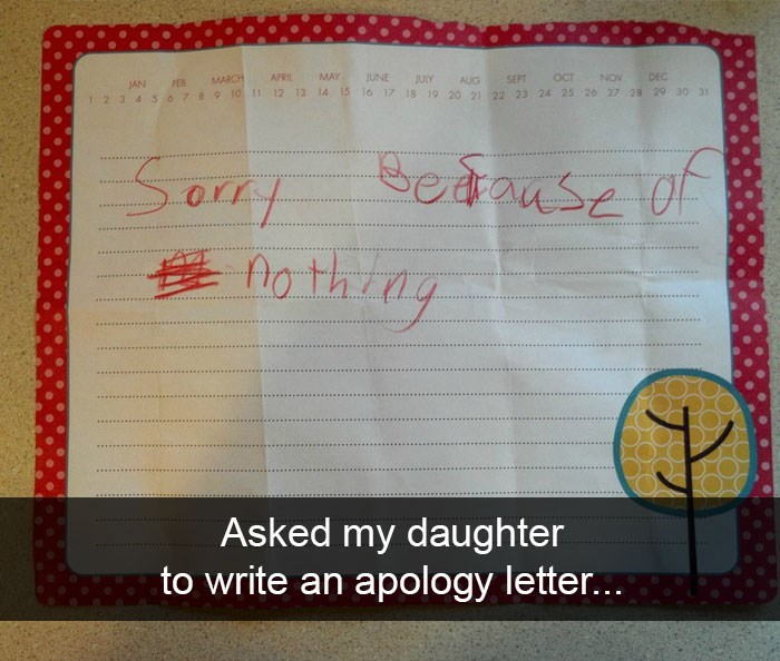 Snapchat shot of apology letter from daughter not saying sorry