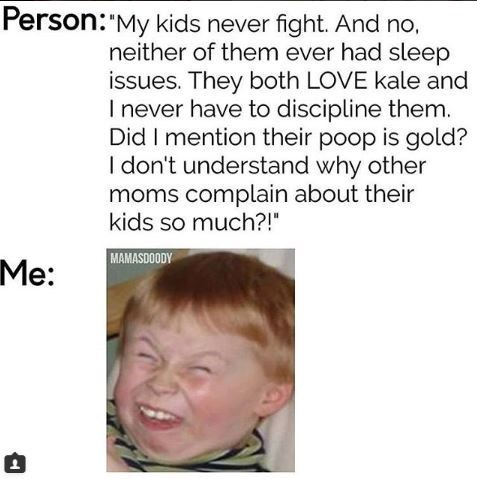 meme about other people talking about their perfect kids with reaction picture of boy squinting and showing teeth