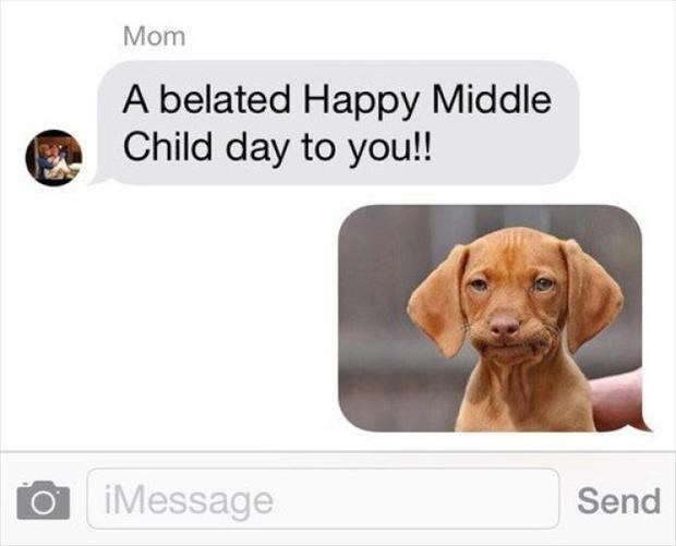 """Message from a parent that reads, """"A belated happy Middle-Child Day to you!"""" - kids replies with a pic of a dog making a displeased face"""