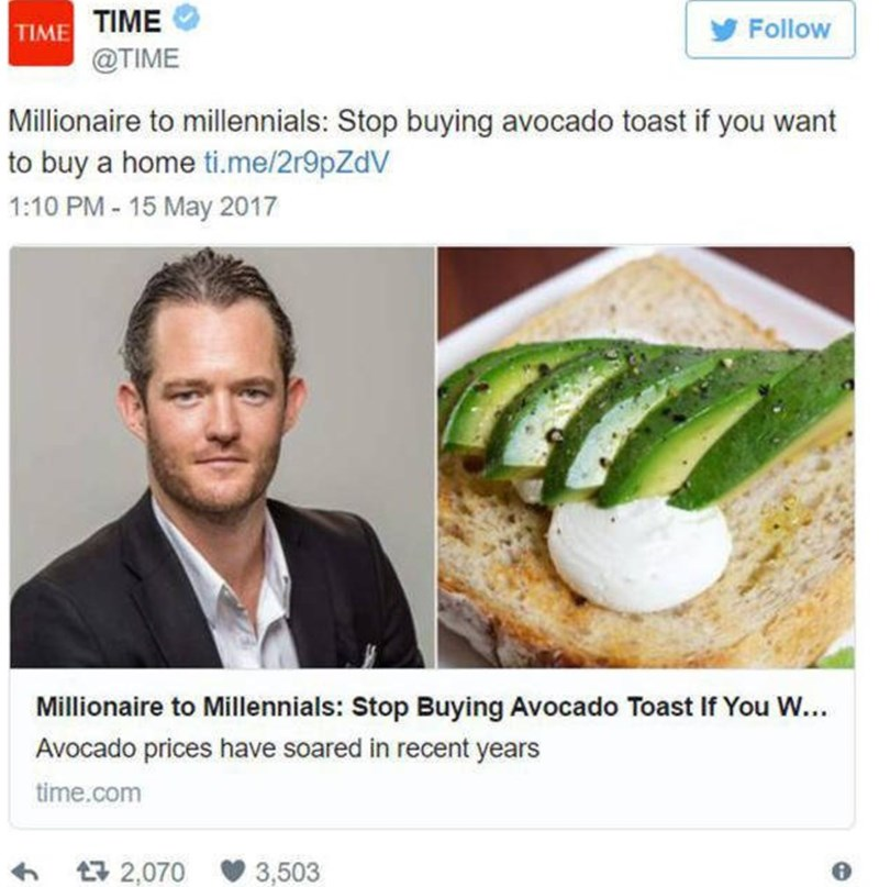 headline about millionaire telling millennials to stop buying avocado toast