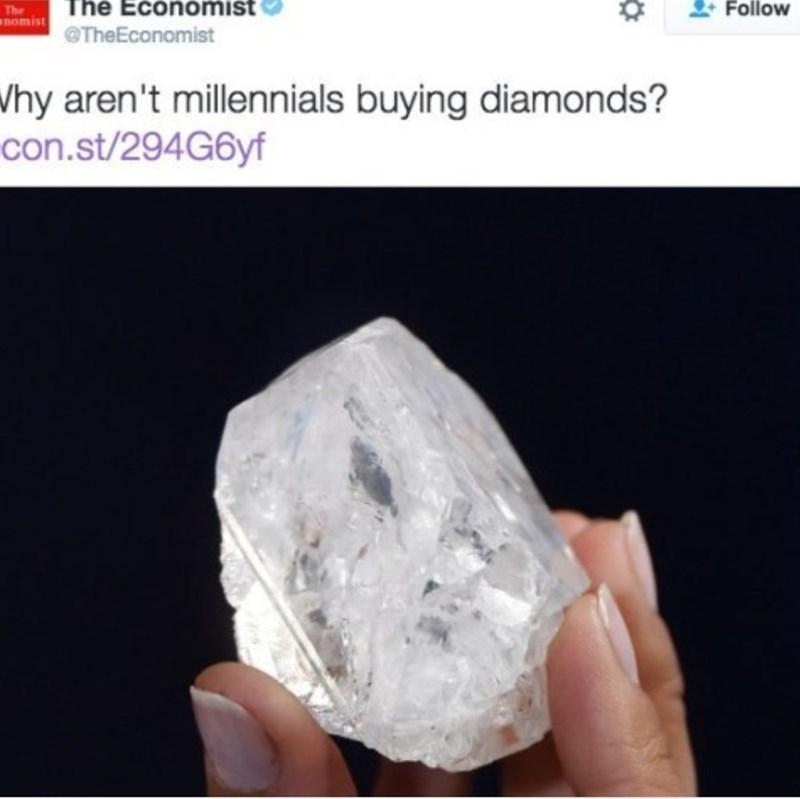 The Economist headline asking why millennials aren't buying diamonds