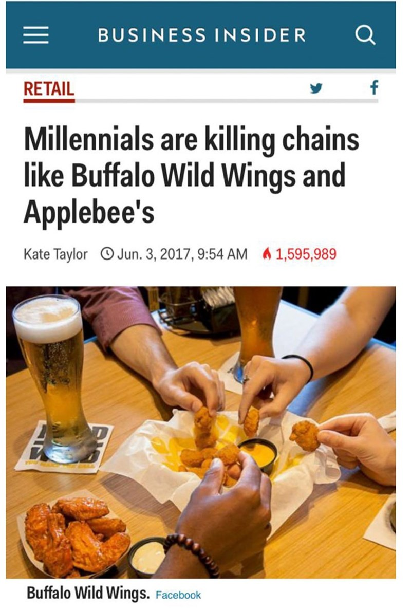 """Business Insider headline that reads, """"Millennials are killing chains like Buffalo Wild Wings and Applebee's"""""""