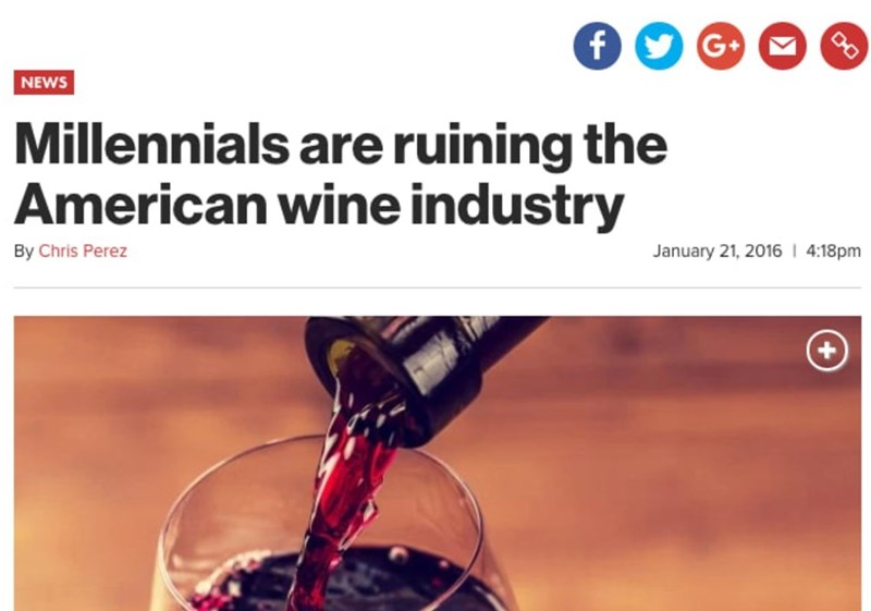 headline about millennials killing the American wine industry