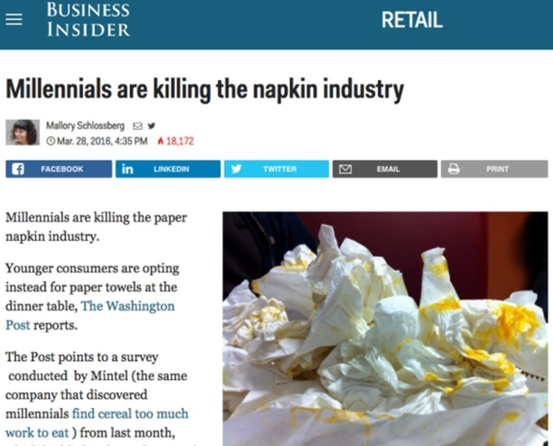 """Business Insider headline that reads, """"Millennials are killing the napkin industry"""""""