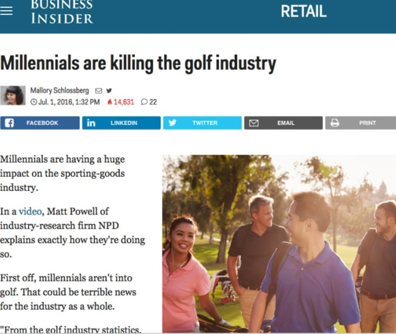 Business Insider story about millennials killing the golf industry