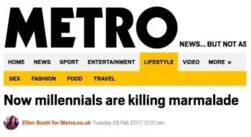 Metro headline about millennials killing marmalade