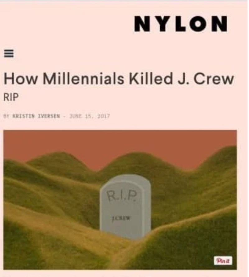 Nylon headline about millennials killing J. Crew