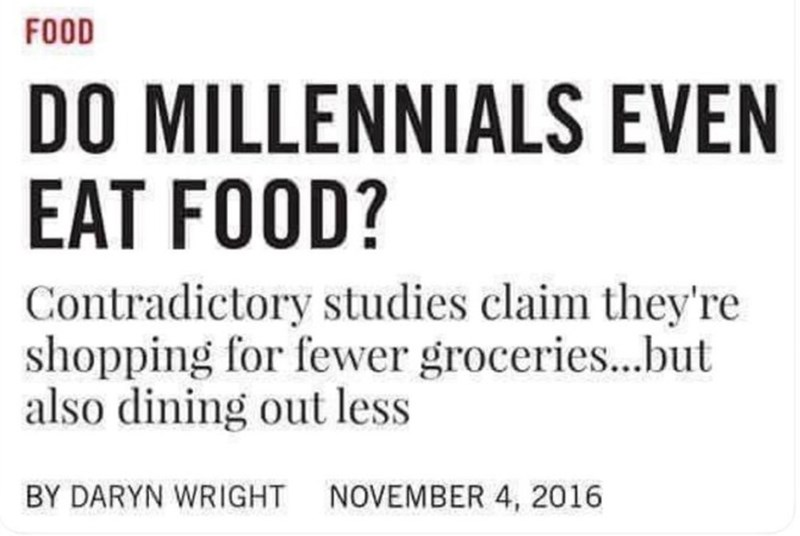 headline asking if millennials even eat food