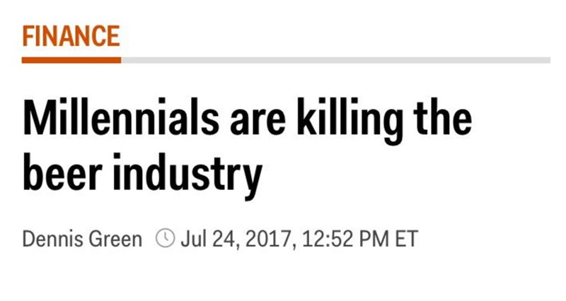 headline about millennials killing the beer industry