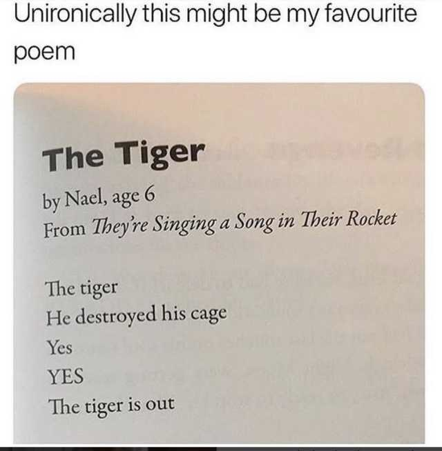 Poem about a tiger written by a six-year-old that actually turned out pretty good
