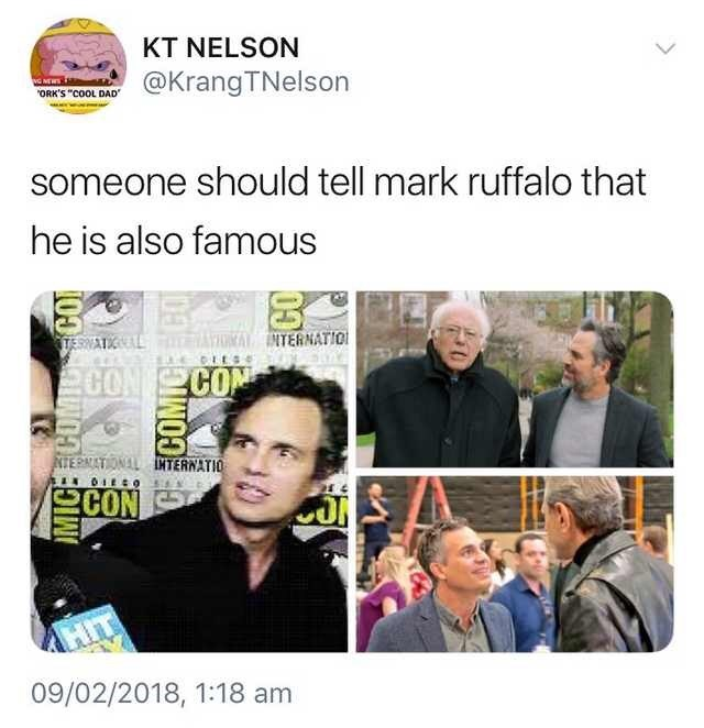 """Caption that reads, """"Someone should tell Mark Ruffalo that he is also famous"""" above three pics of Mark Ruffalo looking starstruck while meeting other celebrities"""