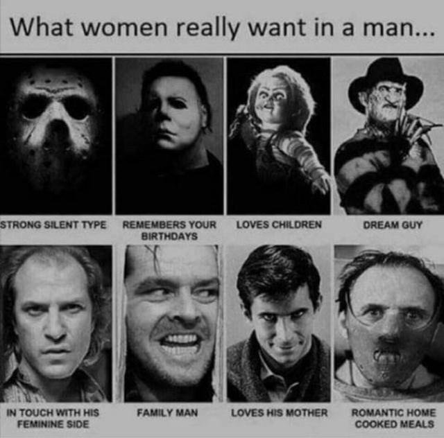 Face - What women really want in a man... STRONG SILENT TYPE REMEMBERS YOUR BIRTHDAYS LOVES CHILDREN DREAM GUY IN TOUCH WITH HIS FEMININE SIDE FAMILY MAN LOVES HIS MOTHER ROMANTIC HOME COOKED MEALS