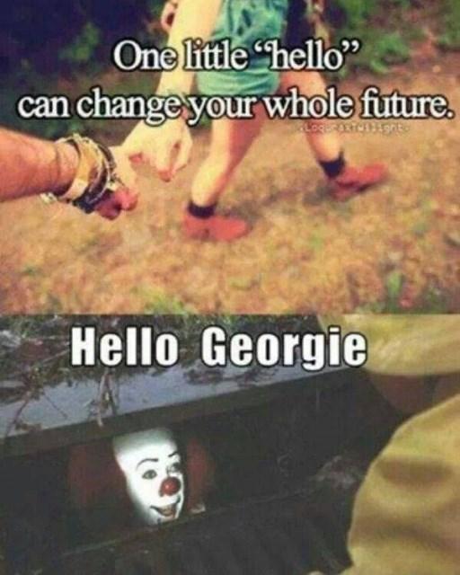 "Photo caption - One little hello"" can change your whole future. LOGERANTCENON Hello Georgie"