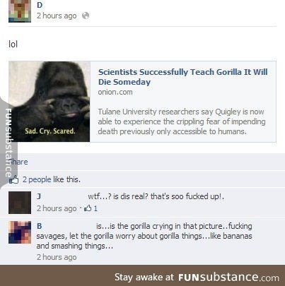 Text - 2 hours ago lol Scientists Successfully Teach Gorilla It Will Die Someday onion.com Tulane University researchers say Quigley is now able to experience the crippling fear of impending death previously only accessible to humans. Sad. Cry, Scared. Share 2 people like this. wtf...? is dis real? that's soo fucked up!. 2 hours ago 1 is. .is the gorilla crying in that picture..fucking savages, let the gorilla worry about gorilla things...like bananas and smashing things... 2 hours ago Stay awak